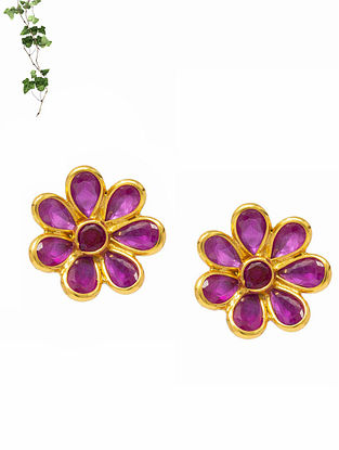 Pink Gold Plated Handcrafted Silver Stud Earrings
