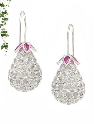 Pink Handcrafted Silver Earrings