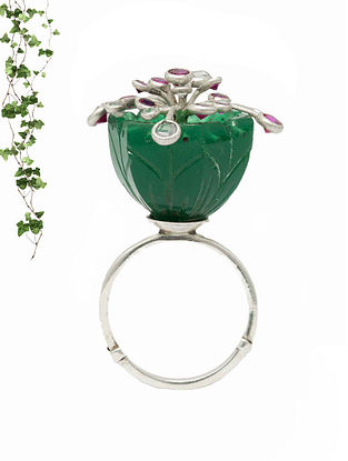Green Pink Handcrafted Silver Adjustable Ring