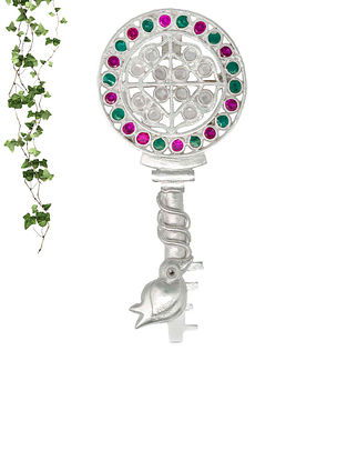 Pink Green Handcrafted Silver Pendant Cum Brooch