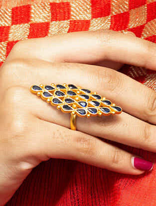 Blue Gold Plated Silver Ring