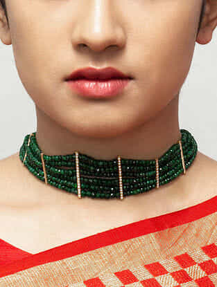 Green Gold Plated Beaded Silver Necklace