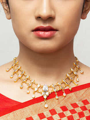 Gold Plated Kundan Silver Necklace