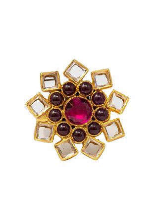 Maroon Gold Plated Kundan Silver Ring