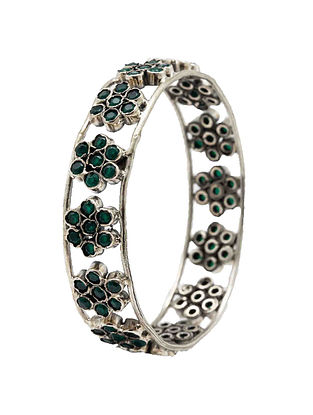 Green Tribal Silver Bangle (Bangle Size: 2/4)