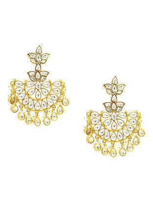 Gold Plated Kundan Silver Earrings
