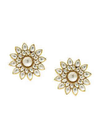 Kundan Gold Plated Silver Earrings