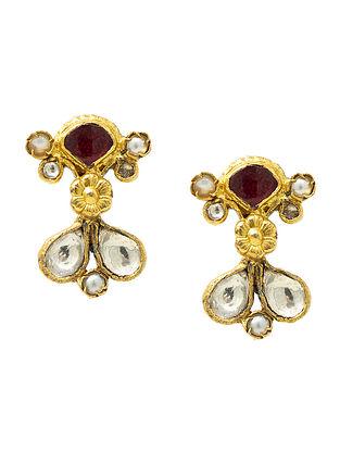 Maroon Kundan Gold Plated Silver Earrings