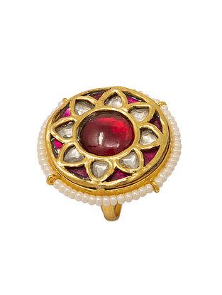 Maroon Meenakari Gold Plated Kundan Adjustable Silver Ring with Pearls