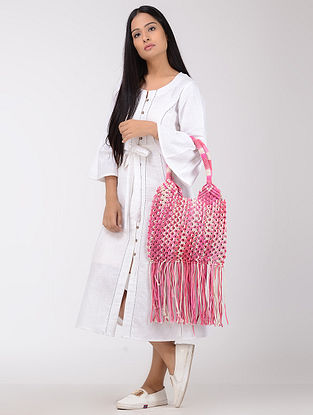 Pink-White Macrame Cotton Tie and Dye Tote with Fringes