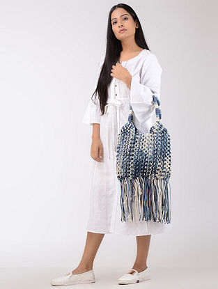 Blue-White Macrame Cotton Tie and Dye Tote with Fringes