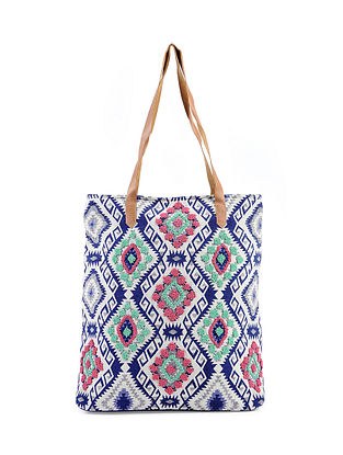 Blue-Multicolored Jacquard Cotton Tote with Beads