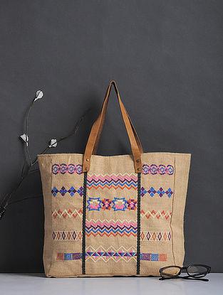 Beige-Multicolored Thread-Embroidered Jute Tote
