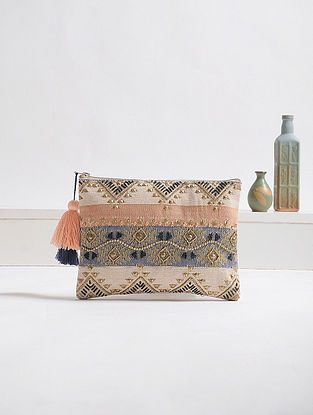 Beige-Multicolored Embellished Cotton Pouch with Tassels