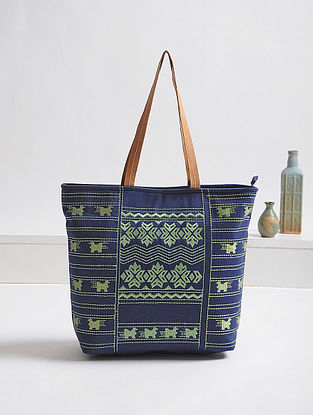 Blue-Green Thread-Embroidered Canvas Tote