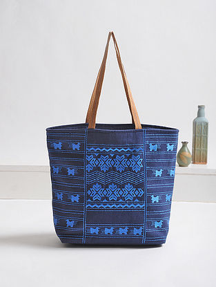 Blue Thread-Embroidered Canvas Tote