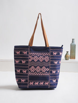 Blue-Pink Thread-Embroidered Canvas Tote