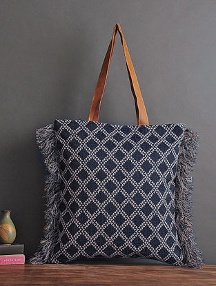 Black Handcrafted Woven Cotton Tote with Fringes
