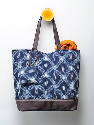 Indigo Handcrafted Ikat Cotton Tote with Pouch
