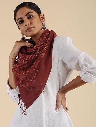 Aarohi Red Block Printed Cotton Scarf