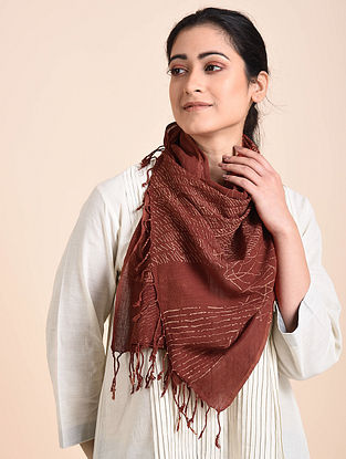 Acadia Red Printed Organic Cotton Scarf
