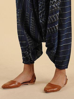 Turkish Long Indigo Block Printed Organic Cotton Mul Pants
