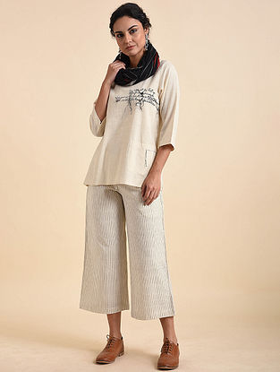 Ivory Embroidered Cotton Top