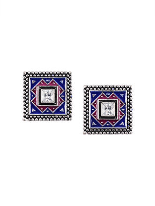 Blue Pink Silver Tone Enameled Handcrafted Earrings