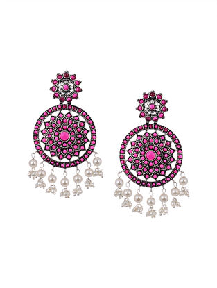 Light Maroon Silver Tone Handcrafted Earrings with Pearls