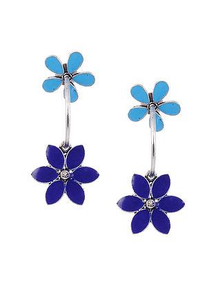 Blue Silver Tone Enameled Handcrafted Earrings