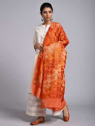 Orange Phulkari Crepe Chiffon Dupatta