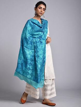 Blue Phulkari Crepe Chiffon Dupatta
