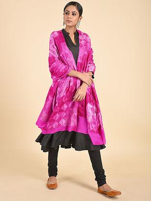 Pink Phulkari Crepe Chiffon Dupatta