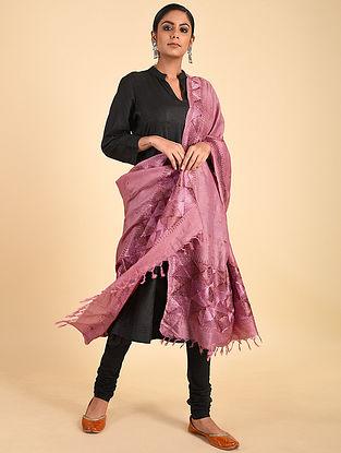 Pink Phulkari Tussar Silk Dupatta