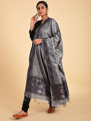 Grey Phulkari Tussar Silk Dupatta