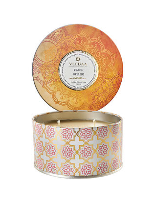 Peach Bellini 3 Wick Tin Scented Candle (400 gms)