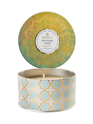 Blue Island Water 3 Wick Tin Scented Candle (400 gms)