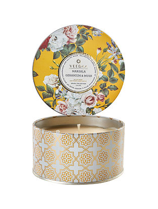 Marsala Geranium and Musk 3 Wick Tin Scented Candle (Burns 40+ Hours)