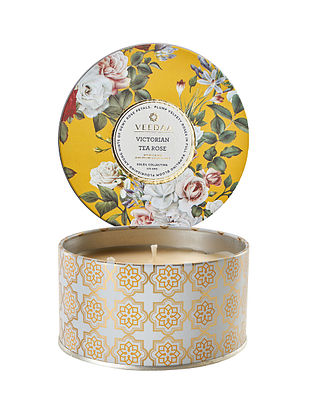 Victorian Tea Rose 3 Wick Tin Scented Candle (Burns 40+ Hours)