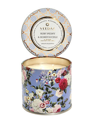 Ruby Peony and Honeysuckle Mason Tin Scented Candle (Burns 25+ Hours)