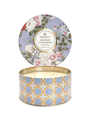 Ruby Peony and Honeysuckle 3 Wick Tin Scented Candle (400 gms)