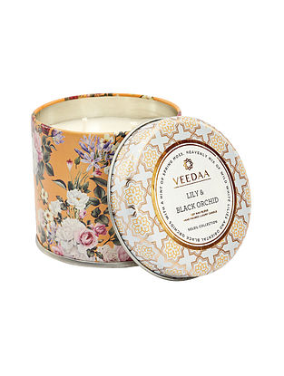 Lily and Black Orchid Mason Tin Scented Candle (300 gms)
