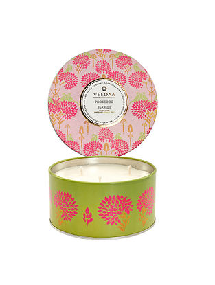 Prosecco Berries 3 Wick Tin Scented Candle (Burns 40+ Hours)