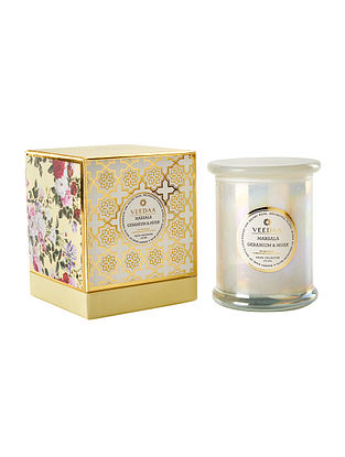 Marsala Geranium and Musk Danube glass Scented Candle (900 gms)
