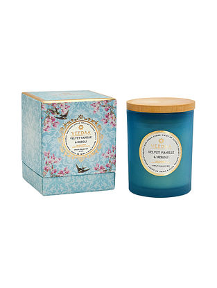 Velvet Vanille and Neroli Czech Glass Scented Candle (Burns 30+ Hours)
