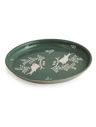 Green-White Floral Hand Painted Steel Plate- Dia: 8in