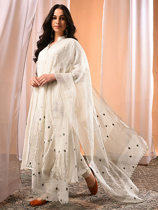 NIARA - Ivory Embroidered Silk Dupatta with Scalloping