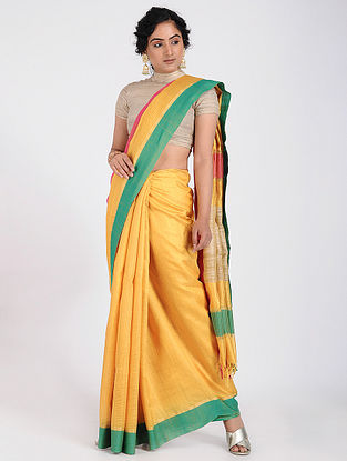 Yellow-Green Tussar Silk Saree