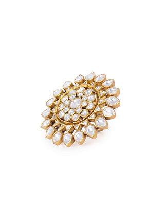Kundan Inspired Gold Tone Adjustable Silver Ring