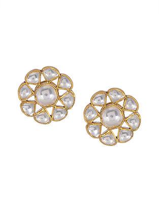 Kundan Inspired Gold Tone Silver Earrings
